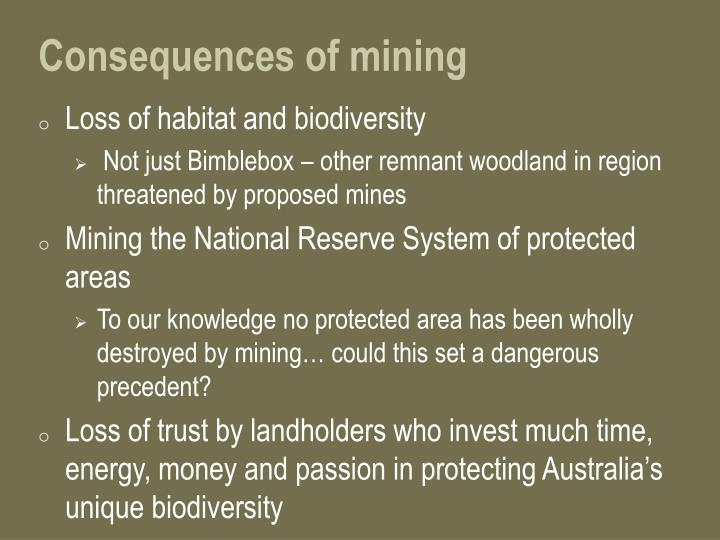 Consequences of mining