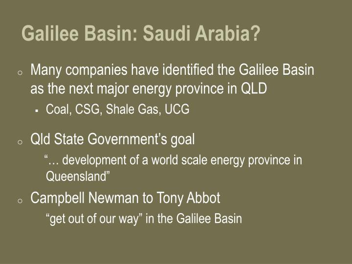 Galilee Basin: Saudi Arabia?