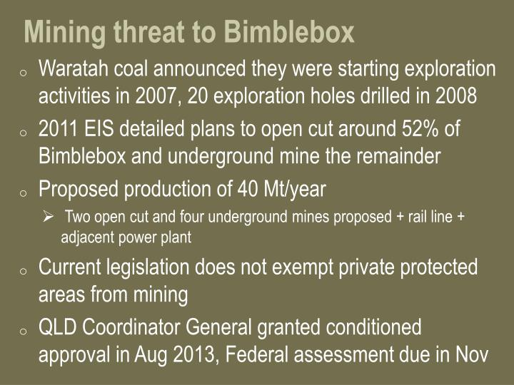 Mining threat to Bimblebox
