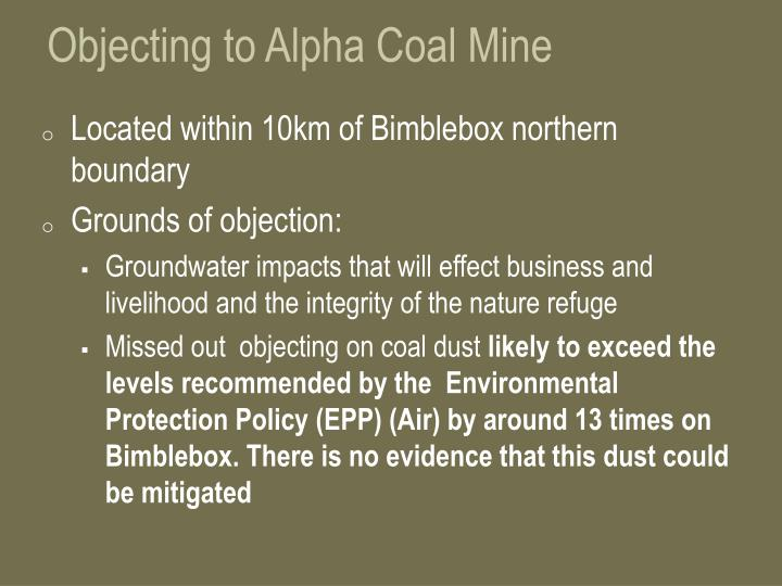 Objecting to Alpha Coal Mine
