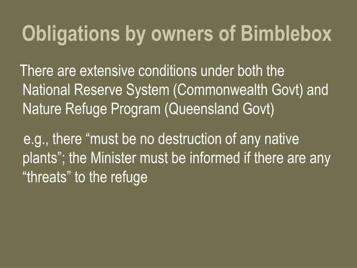 Obligations by owners of Bimblebox