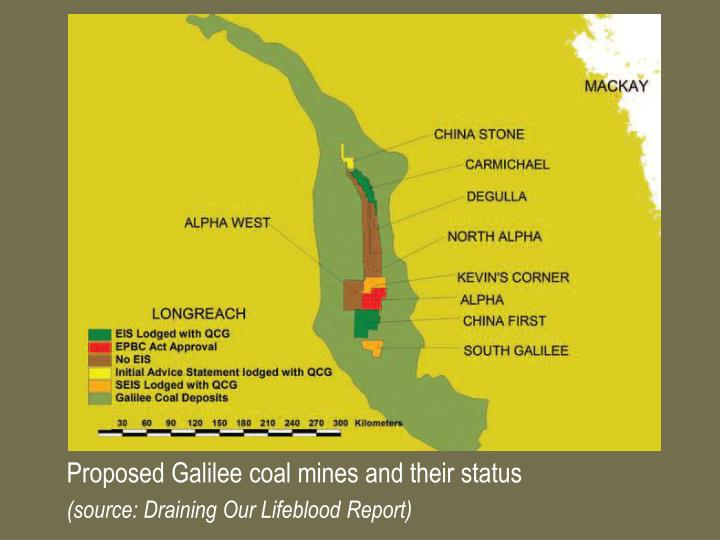 Proposed Galilee coal mines and their status