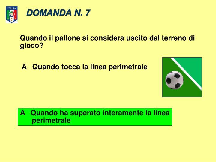 DOMANDA N. 7
