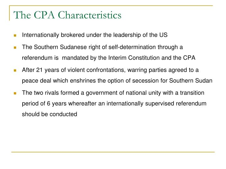 The CPA Characteristics