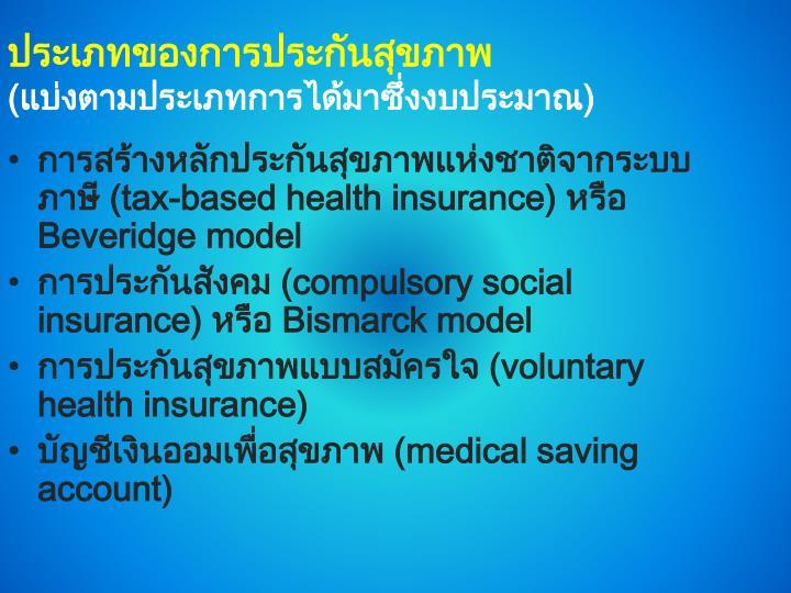 ประเภทของการประกันสุขภาพ