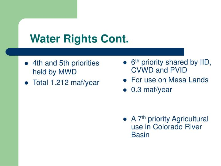 4th and 5th priorities held by MWD