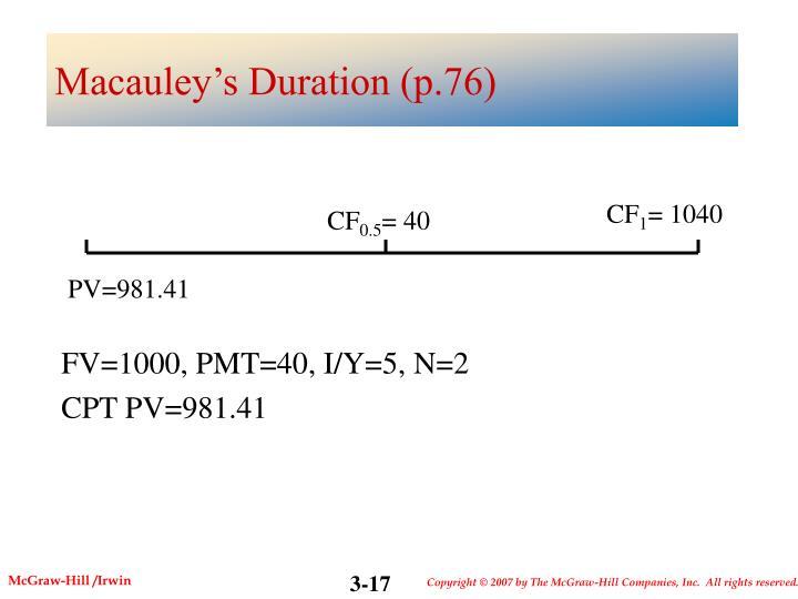 Macauley's Duration (p.76)