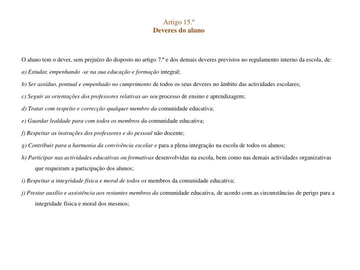 Artigo 15.º