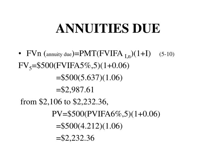 ANNUITIES DUE