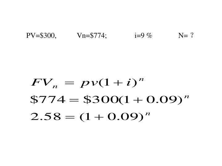 PV=$300,           Vn=$774;               i=9 %              N=