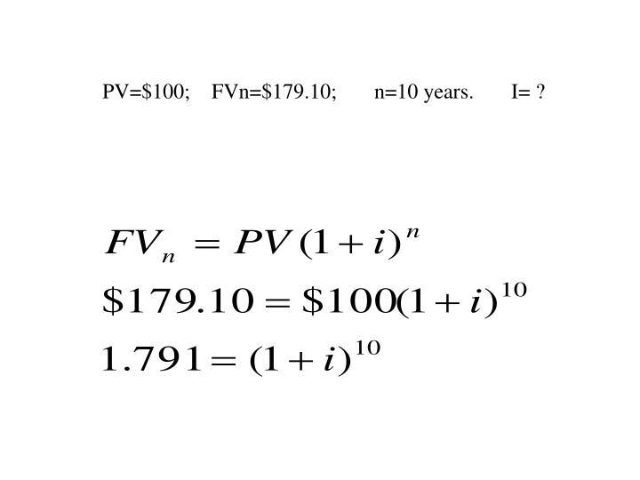 PV=$100;    FVn=$179.10;       n=10 years.       I= ?