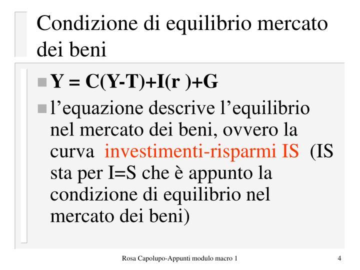 Condizione di equilibrio mercato dei beni
