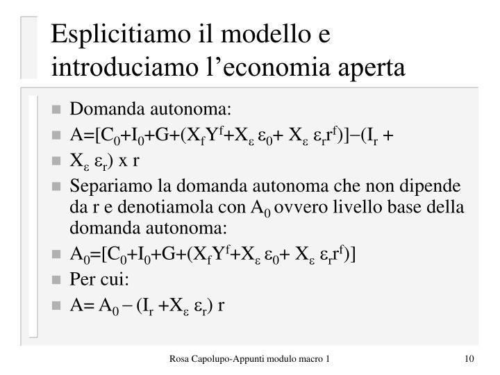 Esplicitiamo il modello e introduciamo l'economia aperta
