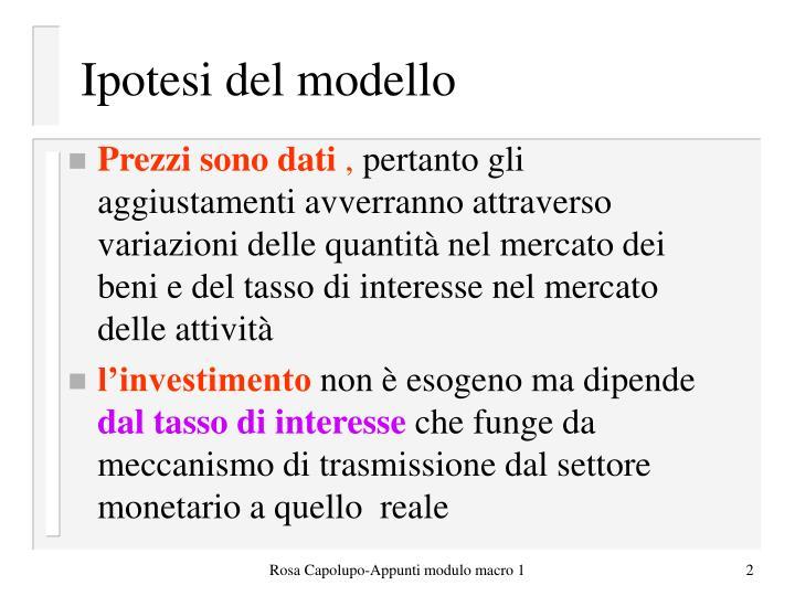 Ipotesi del modello