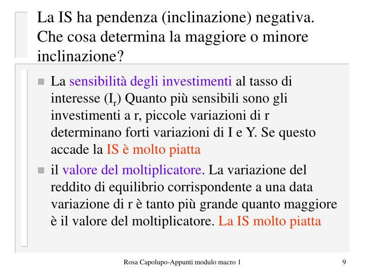 La IS ha pendenza (inclinazione) negativa. Che cosa determina la maggiore o minore inclinazione?