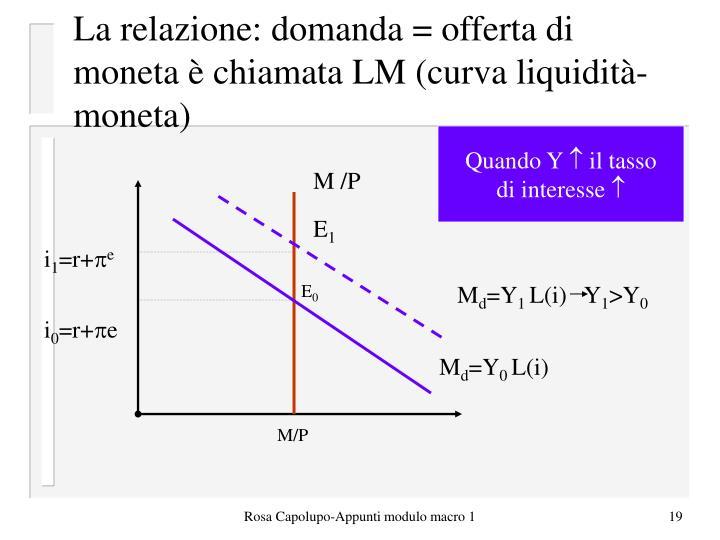 La relazione: domanda = offerta di moneta è chiamata LM (curva liquidità-moneta)