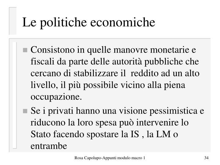 Le politiche economiche