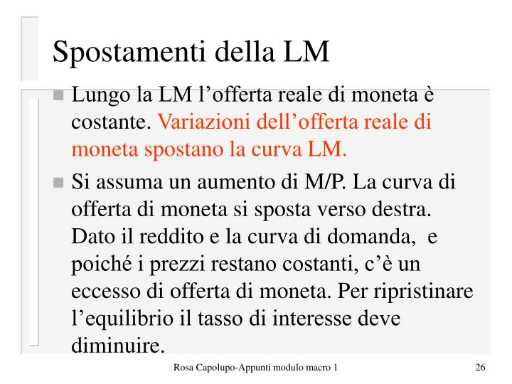 Spostamenti della LM