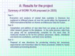 a results for the project summary of work plan proposed in 2005