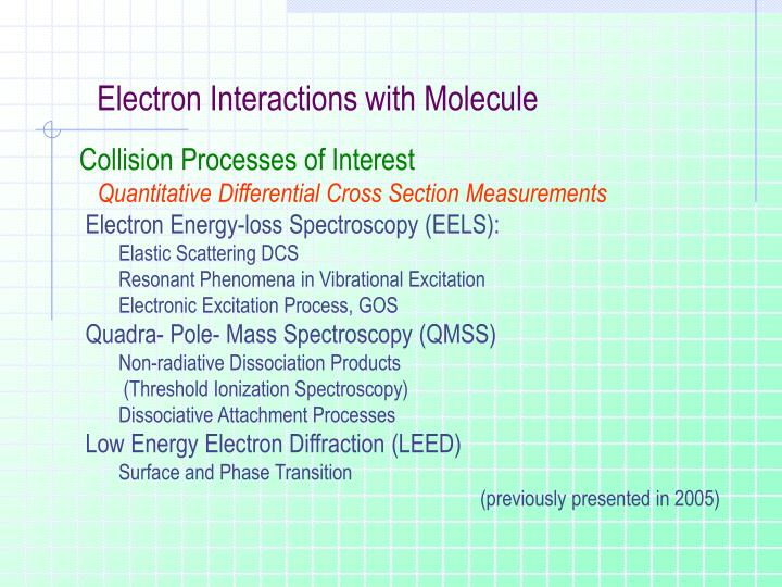 Electron Interactions with Molecule
