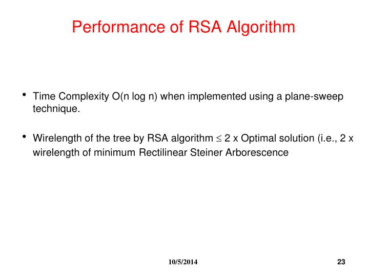 Performance of RSA Algorithm