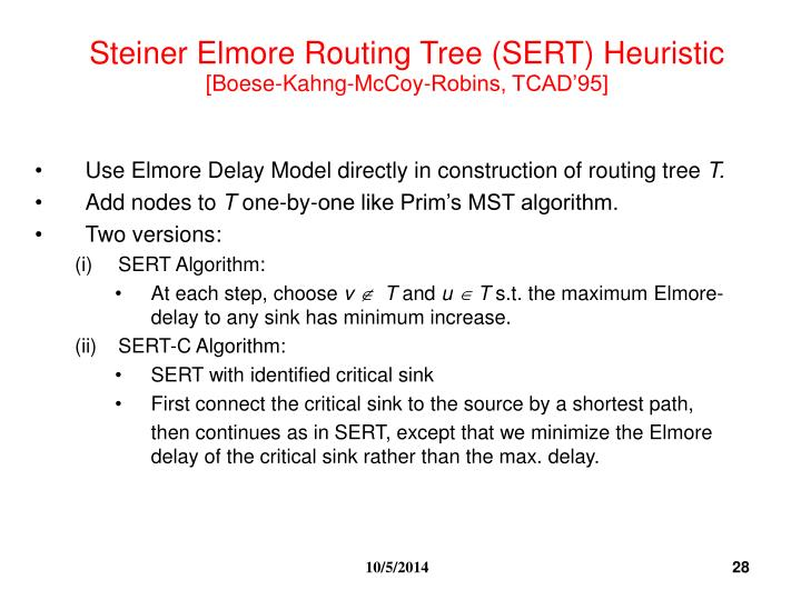 Steiner Elmore Routing Tree (SERT) Heuristic