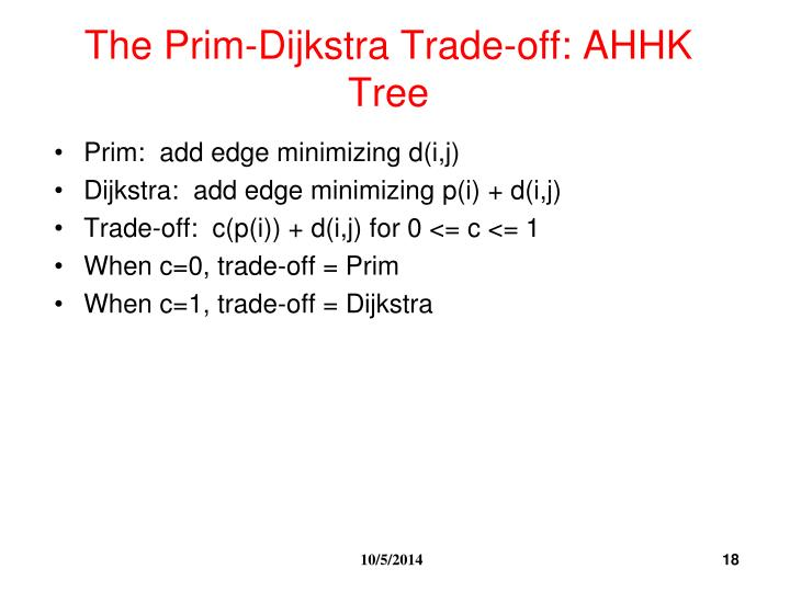 The Prim-Dijkstra Trade-off: AHHK Tree