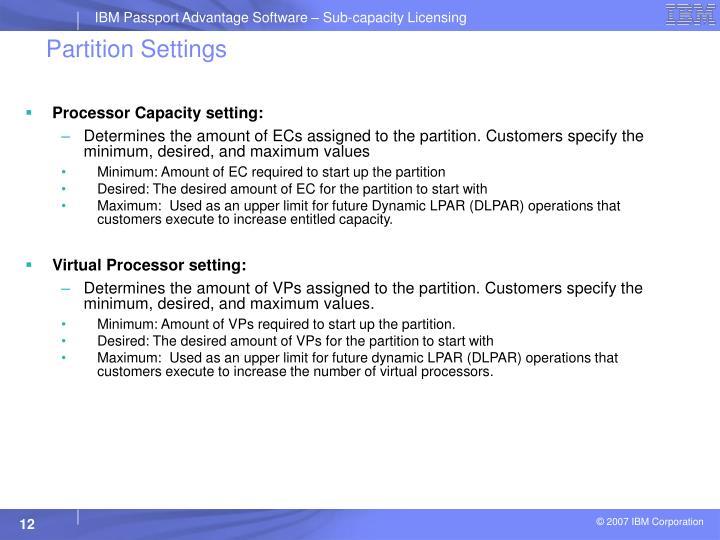 Processor Capacity setting: