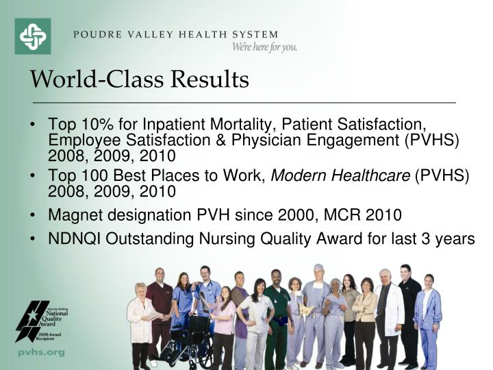 Top 10% for Inpatient Mortality, Patient Satisfaction, Employee Satisfaction & Physician Engagement (PVHS) 2008, 2009, 2010