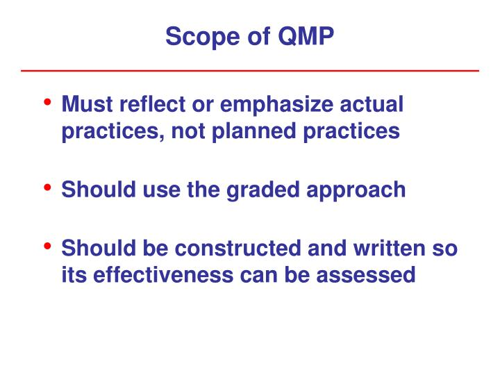 Scope of qmp