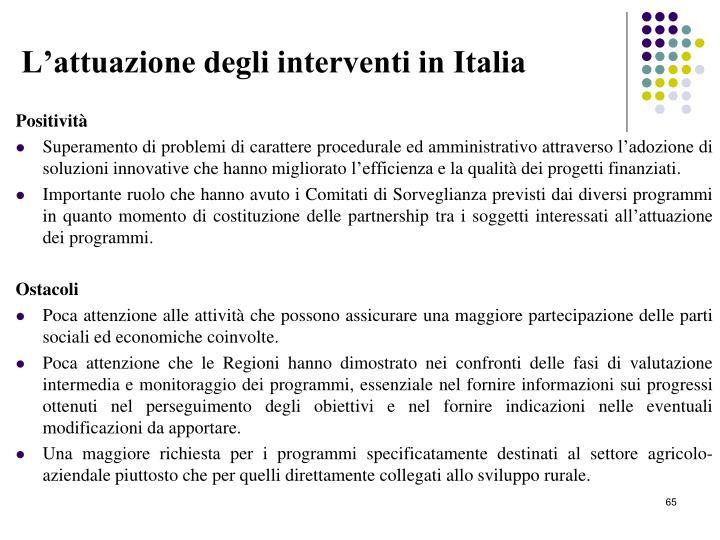 L'attuazione degli interventi in Italia
