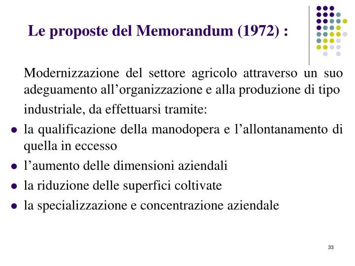 Le proposte del Memorandum (1972) :