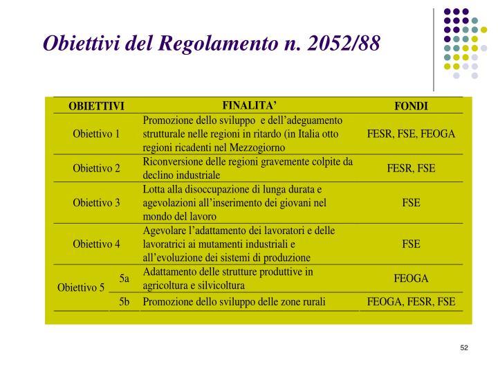 Obiettivi del Regolamento n. 2052/88