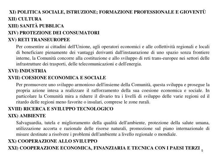 XI) POLITICA SOCIALE, ISTRUZIONE; FORMAZIONE PROFESSIONALE E GIOVENTÙ