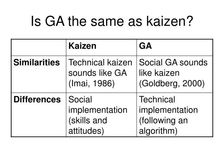 Is GA the same as kaizen?