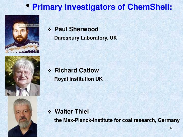Primary investigators of ChemShell: