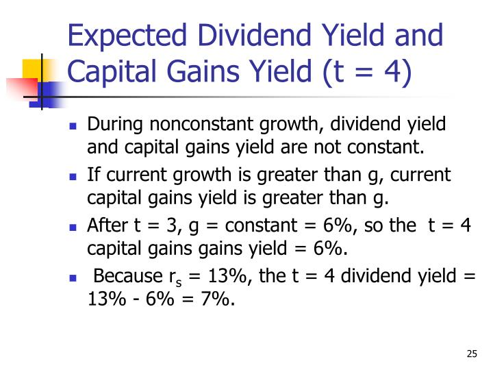Expected Dividend Yield and Capital Gains Yield (t = 4)