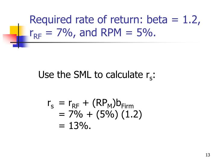 Required rate of return: beta = 1.2, r
