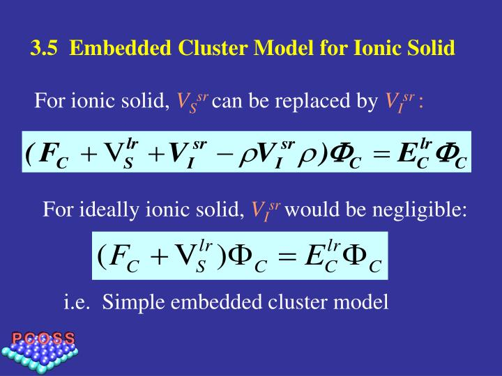 3.5  Embedded Cluster Model for Ionic Solid