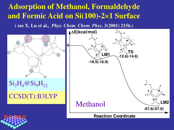 Adsorption of Methanol, Formaldehyde and Formic Acid on Si(100)-2