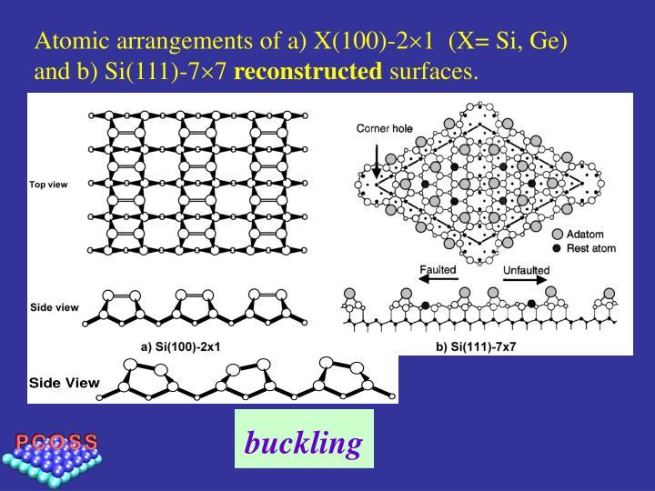 Atomic arrangements of a) X(100)-2