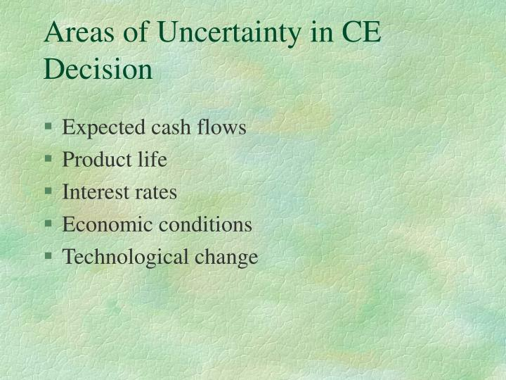 Areas of uncertainty in ce decision