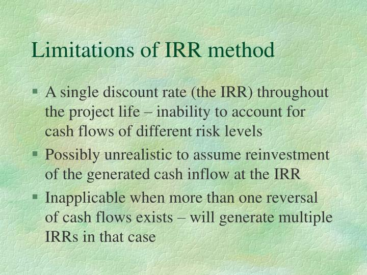 Limitations of IRR method
