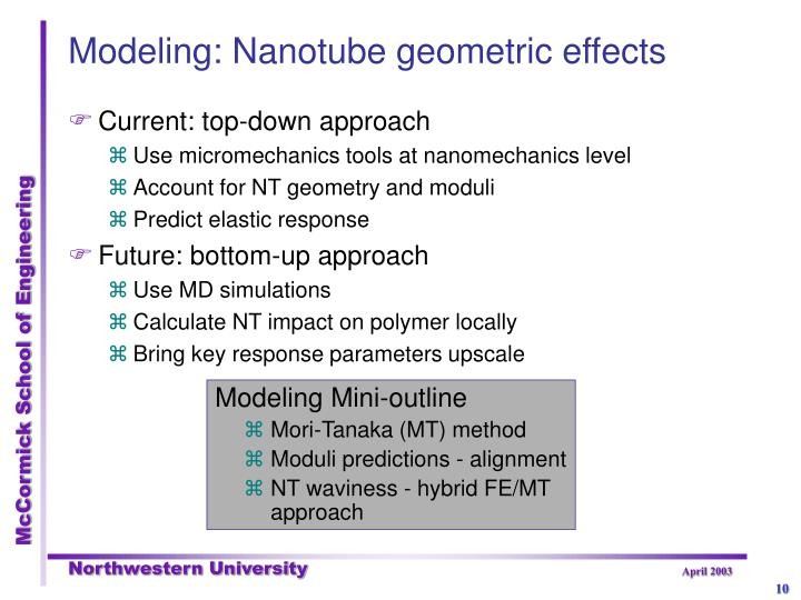 Modeling: Nanotube geometric effects