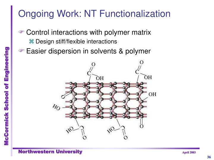 Ongoing Work: NT Functionalization