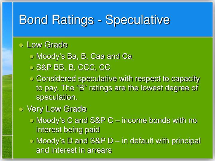 Bond Ratings - Speculative