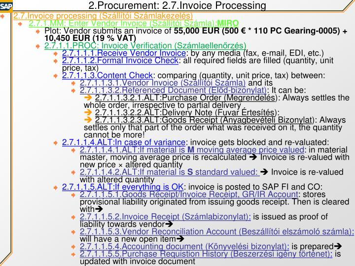 2.Procurement: 2.7.Invoice Processing
