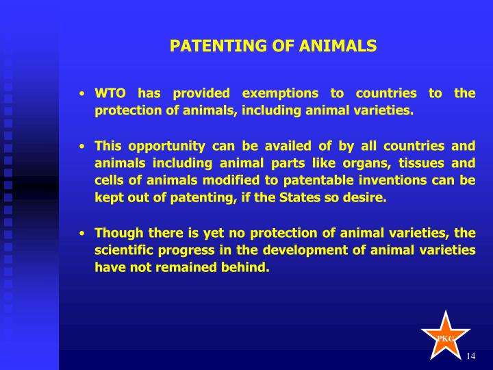PATENTING OF ANIMALS