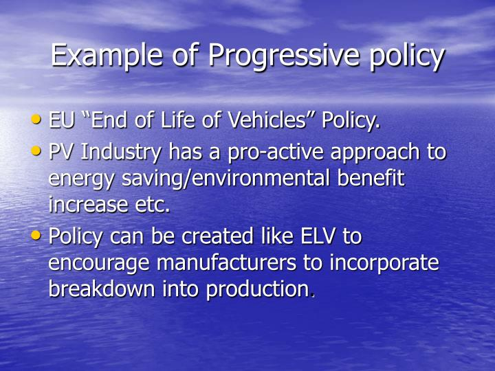 Example of Progressive policy