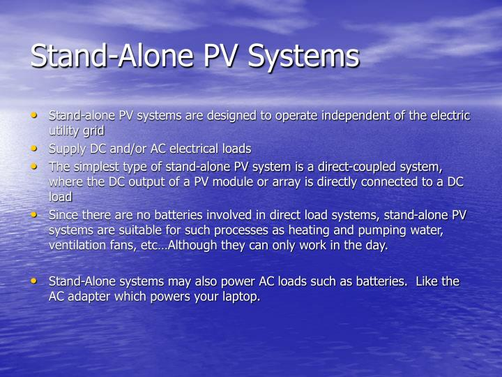 Stand-Alone PV Systems